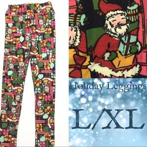 LuLaRoe KIDS L/XL Holiday Leggings Santa Presents